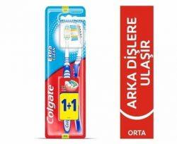 Colgate Extra Clean Diş Fırçası Orta 1+1 & Temizeyici Fırça Kılları