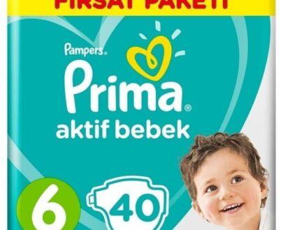 Prima Bebek Bezi Aktif Bebek 6 Beden 40 Adet Ekstra Large Fırsat Paketi
