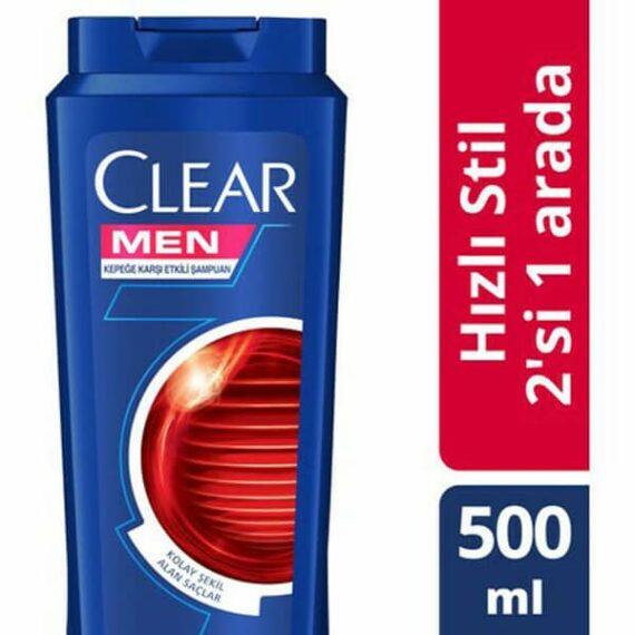 Clear Men Şampuan Hızlı Stil 2'si 1 Arada Kepeğe Karşı Etkili 500 ml