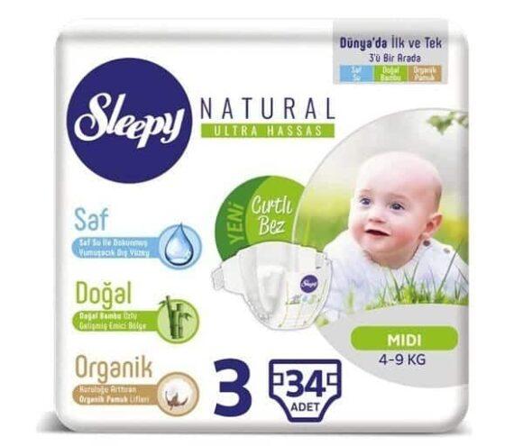 sleepy sensitive bebek bezi 3 beden34 adet